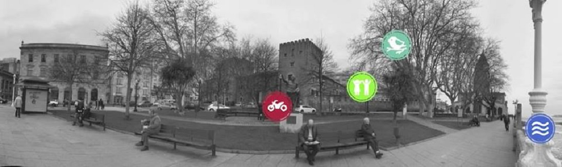 Una pantalla de la exposición Holistic City Soundscapes: panorámicas .