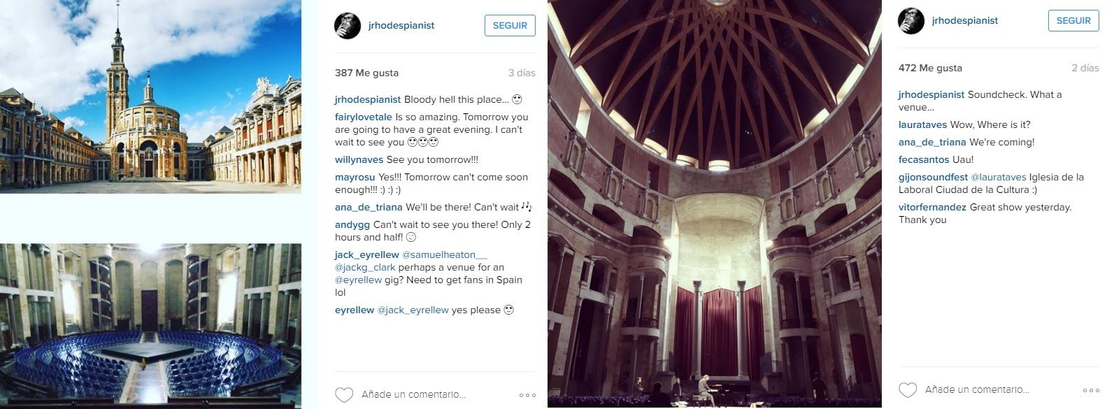 James Rhodes, emocionado con el espacio de La Laboral en su cuenta de Instagram.
