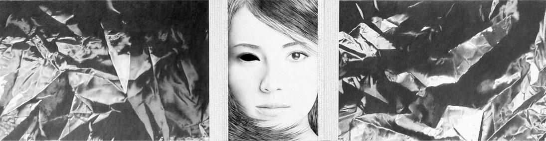 "Imagen 1. ""La benévola"", tríptico, lápiz/papel, 40x63 cm./40x25 cm./40x63 cm., 2007. Foto: Enrique Ros Wagener"